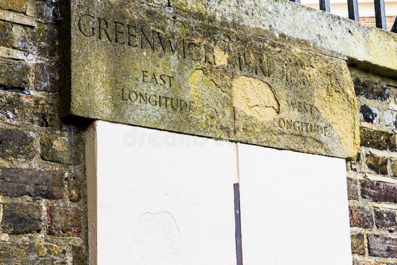 Meridiano primero Greenwich, Londres, Reino Unido imagen de archivo