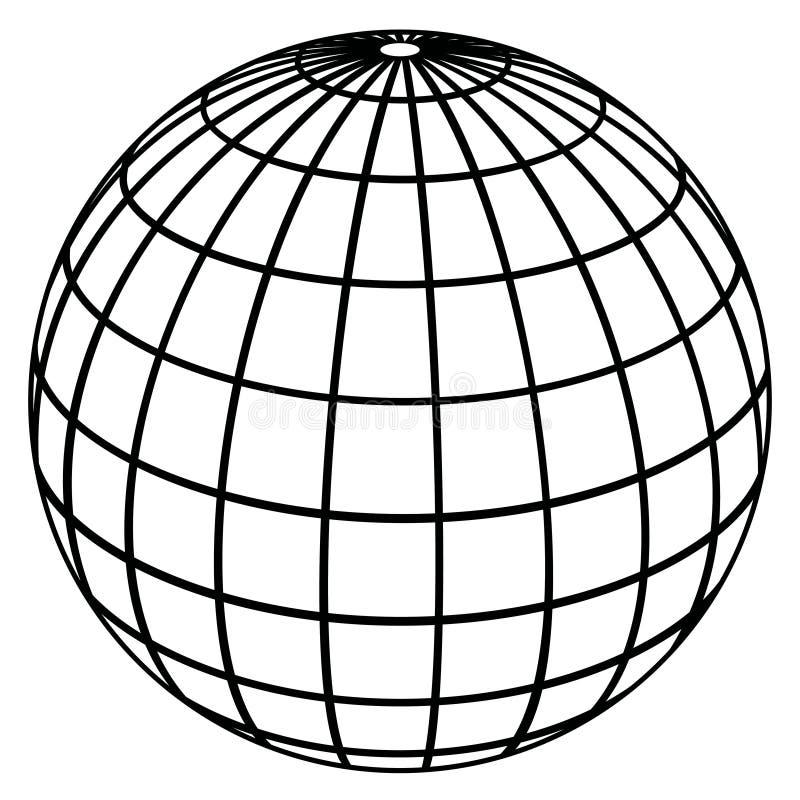 Meridianos do globo/modelo de terra ilustração stock