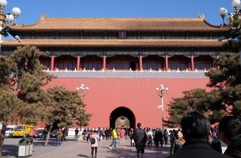 Meridianporten Wumen i Forbiddenet City, Peking royaltyfria foton