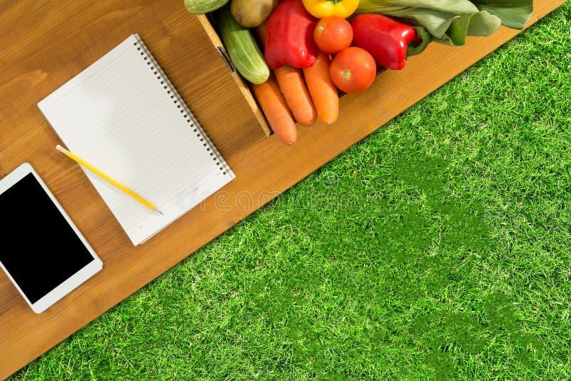 Meriendan en el campo en el parque y la comida y los accesorios sanos, visión superior imagen de archivo