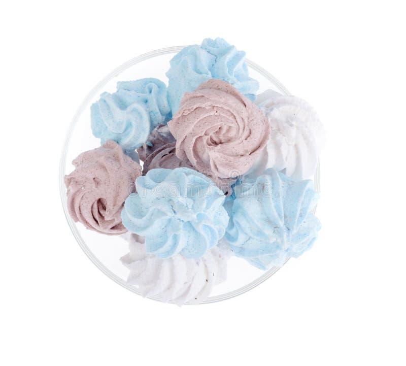 Meringe farbige Zuckerluft geschmackvoll stockfoto