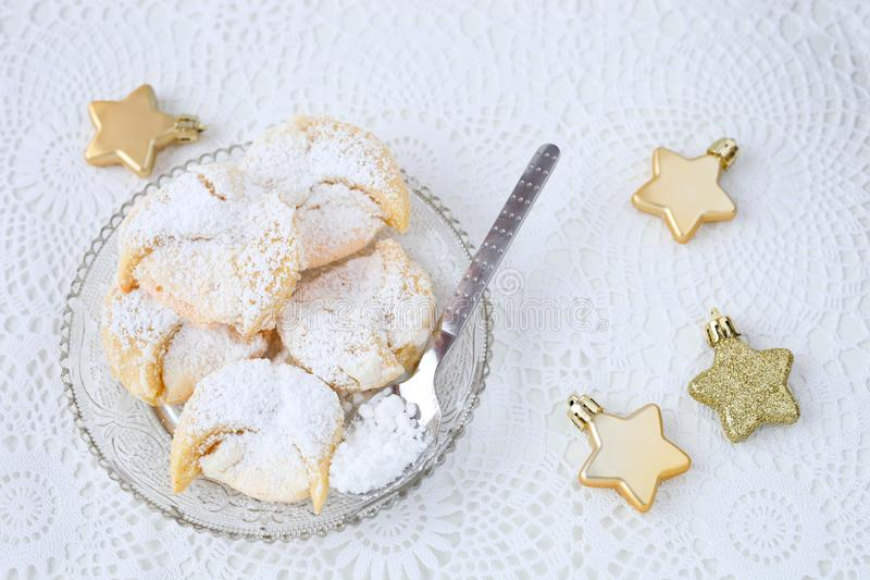 Meringue cookies. Homemade hungarian meringue wedding cookies stock photography