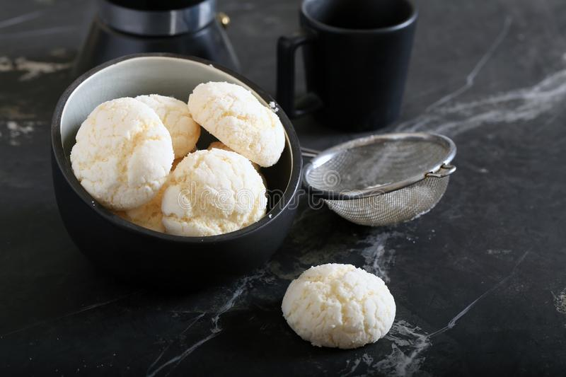 Meringue cookies. With powdered sugar stock photography