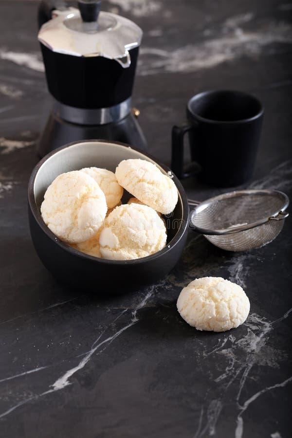 Meringue cookies. With powdered sugar royalty free stock image