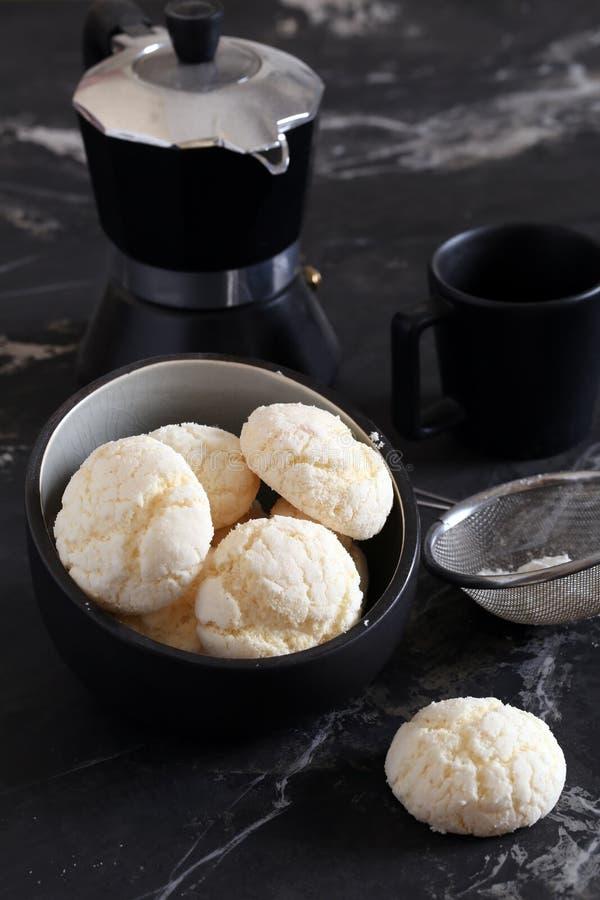 Meringue cookies. With powdered sugar stock photo