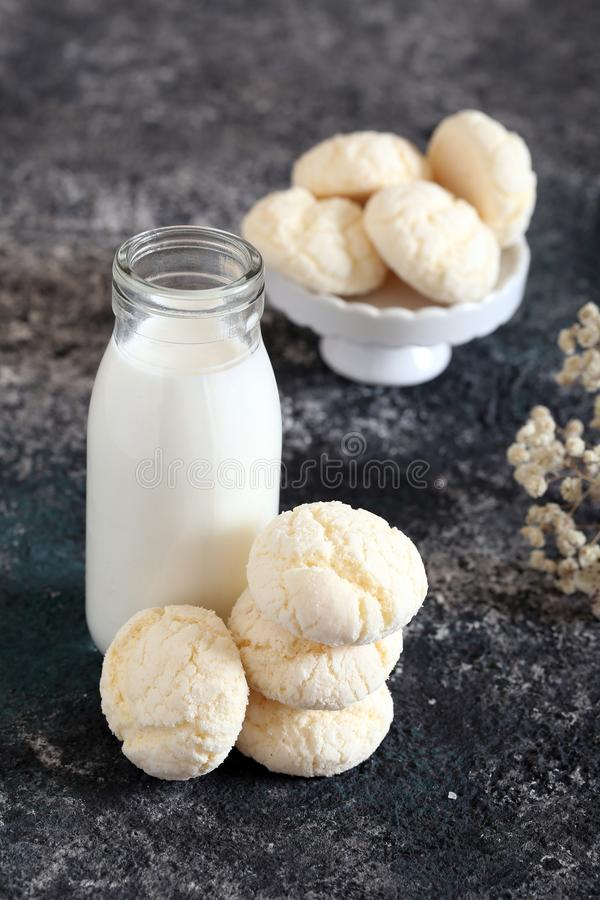 Meringue cookies. With powdered sugar stock images