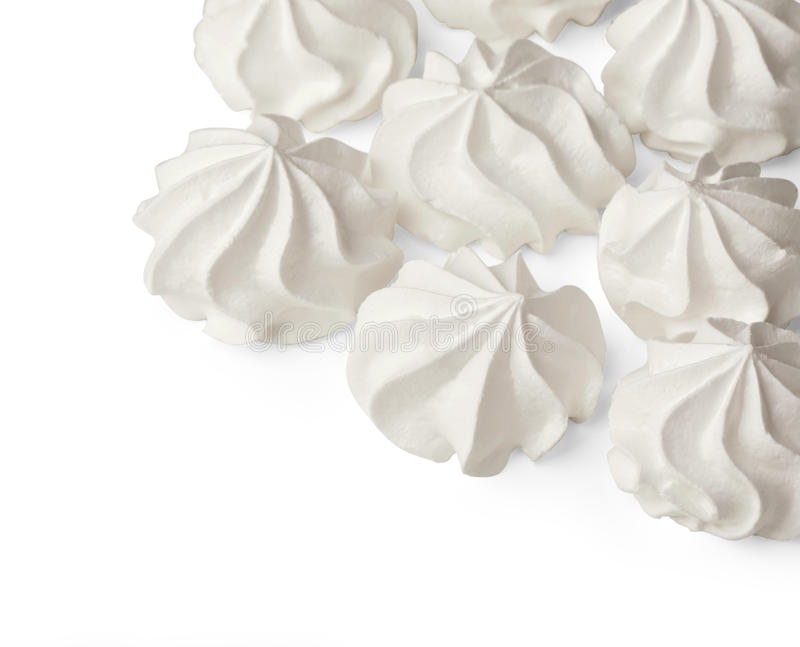 Meringue cookies. On white background with copy space.With clipping path royalty free stock photography