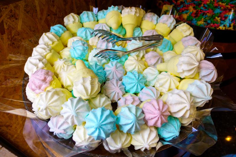 Meringue dessert in store stock photos