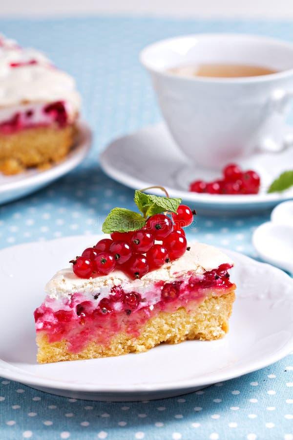 Meringue red currant cake stock photos
