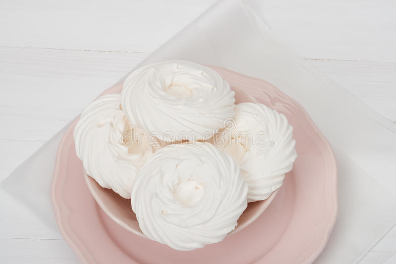 Meringue. Sweet Dessert Made From Whipped Egg. Whites And Sugar. French Cuisine royalty free stock images