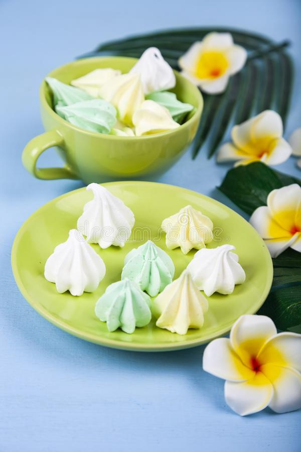 Meringue with tropical leaves and flowers royalty free stock photos