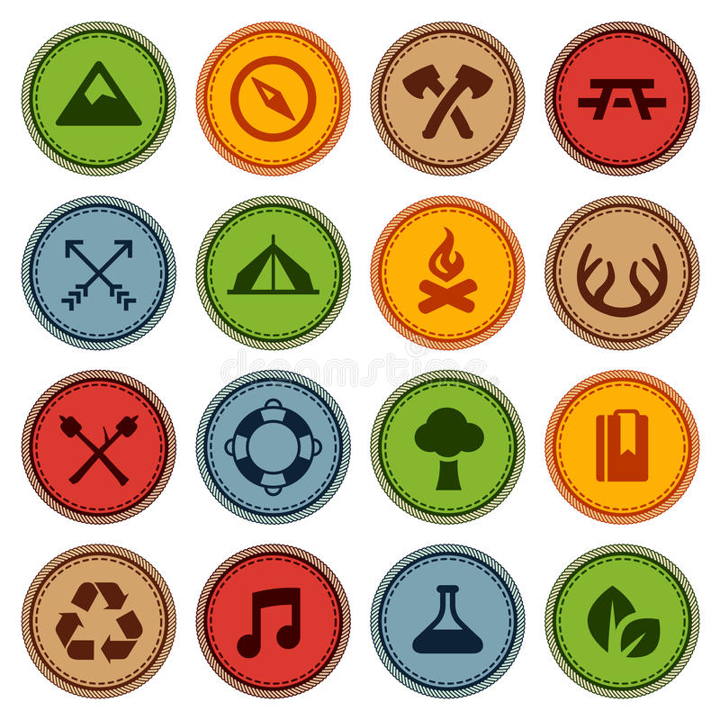 Merit badges. Set of merit achievement badges for outdoor activities