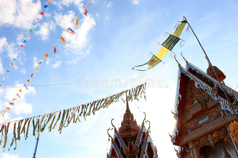 The merit of Thai people 3. In this picture, It is a tradition of Thai people, Buddhist merit., Banknotes are sewn together, The flag is mixed together, Sorted royalty free stock photo