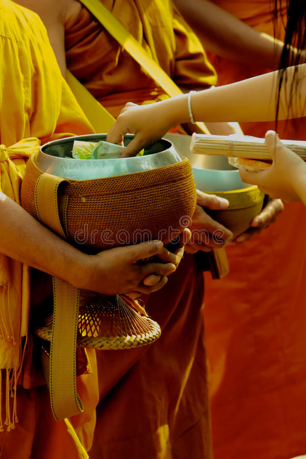 The merit to the monks royalty free stock photo