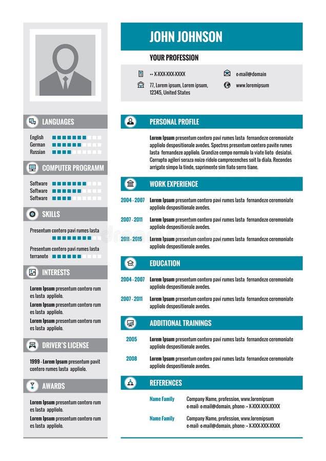 Meritförteckning - CV - vektorbegreppsorientering i formatet A4 Affärsmeritförteckning - vektormall Den moderna meritförteckningm royaltyfri illustrationer