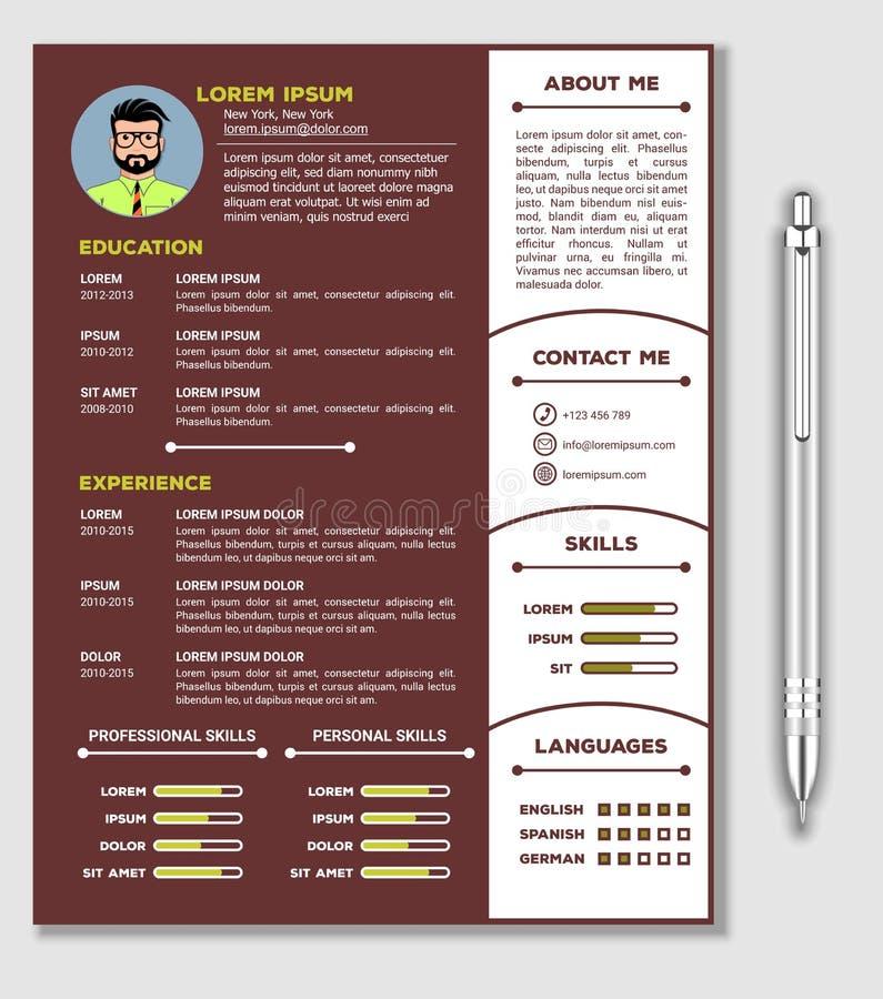 Meritförteckning och CV-mall med trevlig minimalist design och den realistiska pennan royaltyfri illustrationer