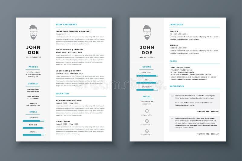Meritförteckning och CV-vektormall Enormt för platsansökningar stock illustrationer