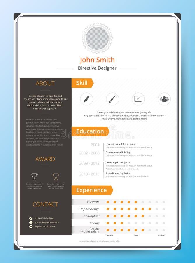 Meritförteckning och CV-vektormall Enormt för platsansökningar royaltyfri illustrationer
