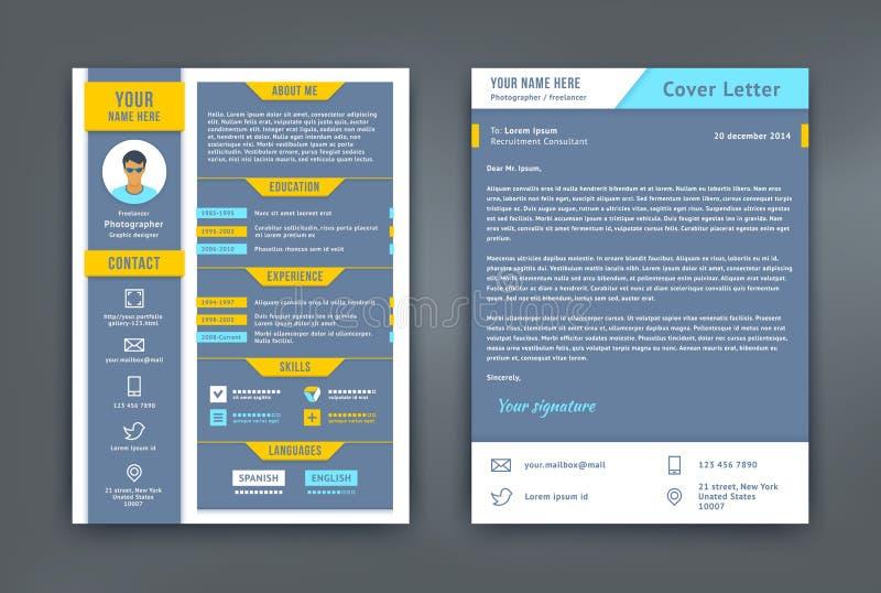 Meritförteckning och följebrev eller CV-mall stock illustrationer