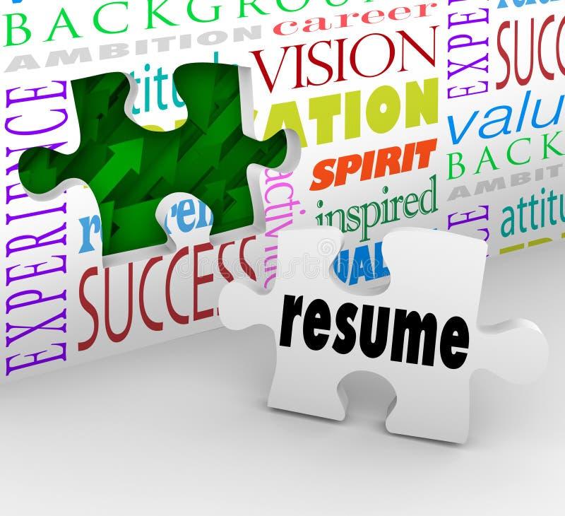 Meritförteckningpåfyllning som öppnar den nya positionen Job Interview Experience royaltyfri illustrationer