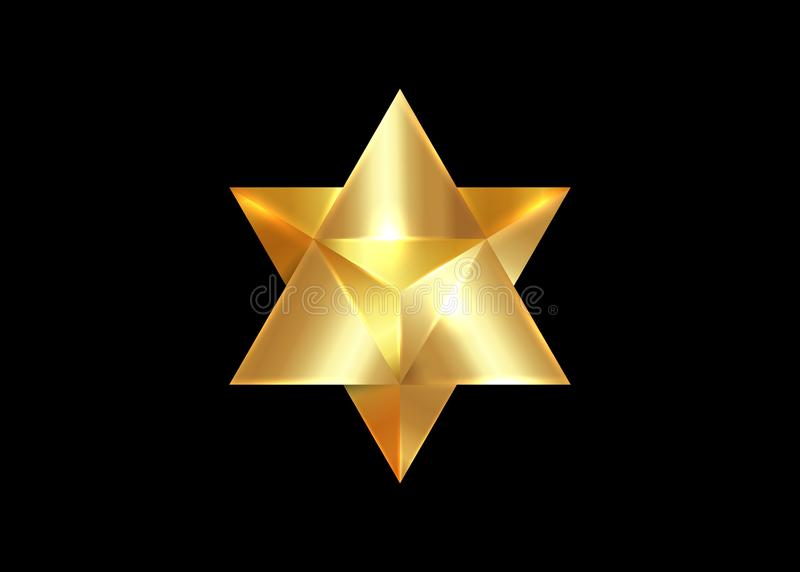 Sacred geometry. 3D gold Merkaba thin line geometric triangle shape. esoteric or spiritual symbol. isolated on dark red background vector illustration