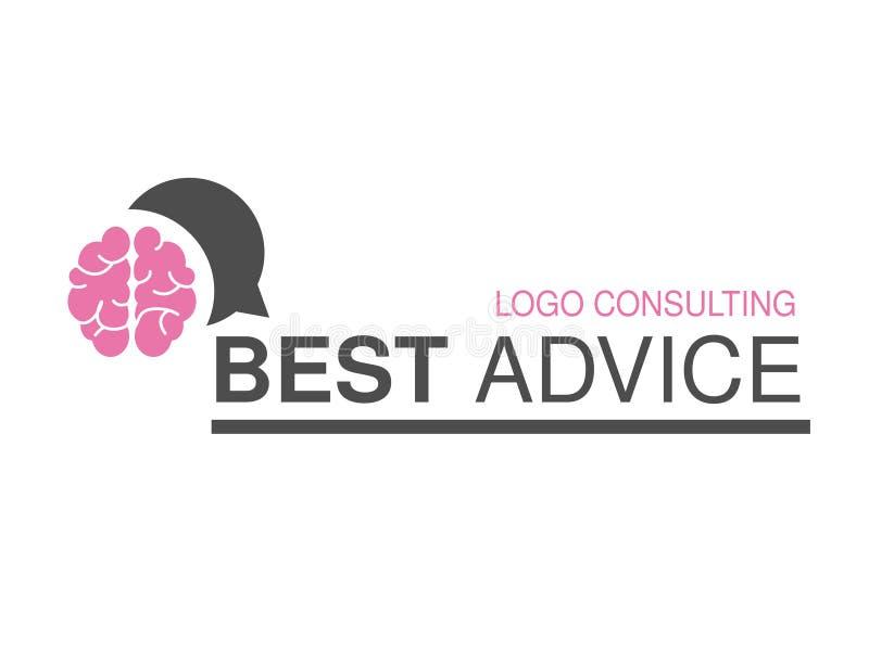 Merk voor het raadplegen van agentschap, beste raad Embleemontwerp met symbool van toespraakbel en hersenen royalty-vrije illustratie