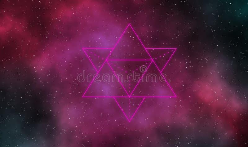 Merkaba astratto nel fondo di progettazione della galassia royalty illustrazione gratis