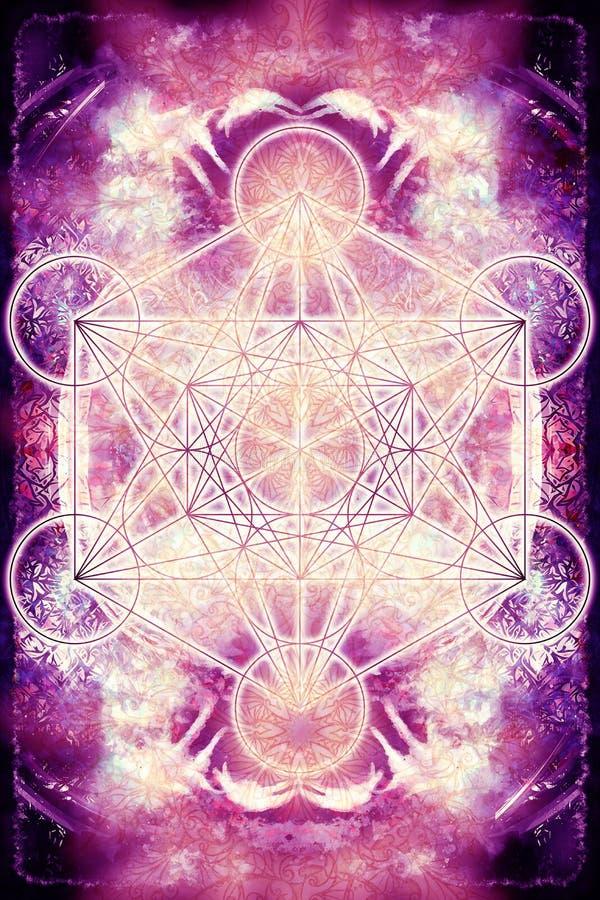 Merkaba och mandala på abstrakt färgbakgrund sakral geometri vektor illustrationer