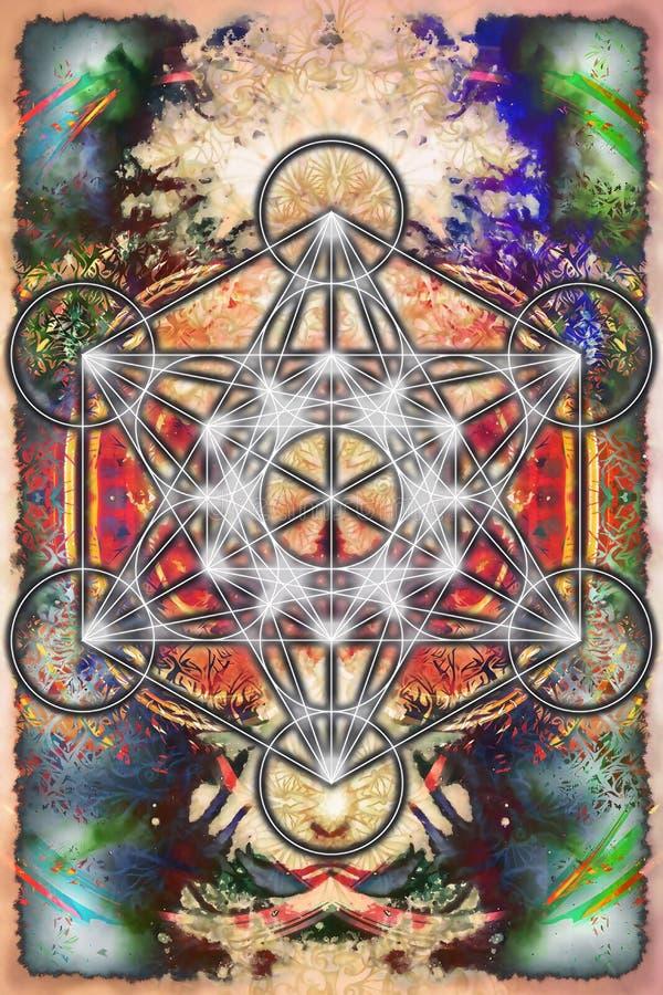 Merkaba och mandala på abstrakt färgbakgrund sakral geometri royaltyfri illustrationer