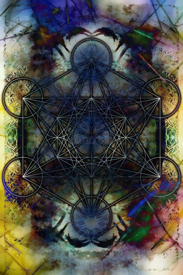 Merkaba på abstrakt färgbakgrund sakral geometri vektor illustrationer