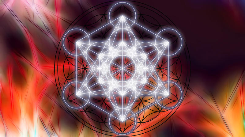 Merkaba på abstrakt färgbakgrund sakral geometri royaltyfri illustrationer