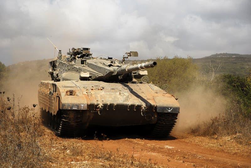 Merkava Main battle tank in training stock image
