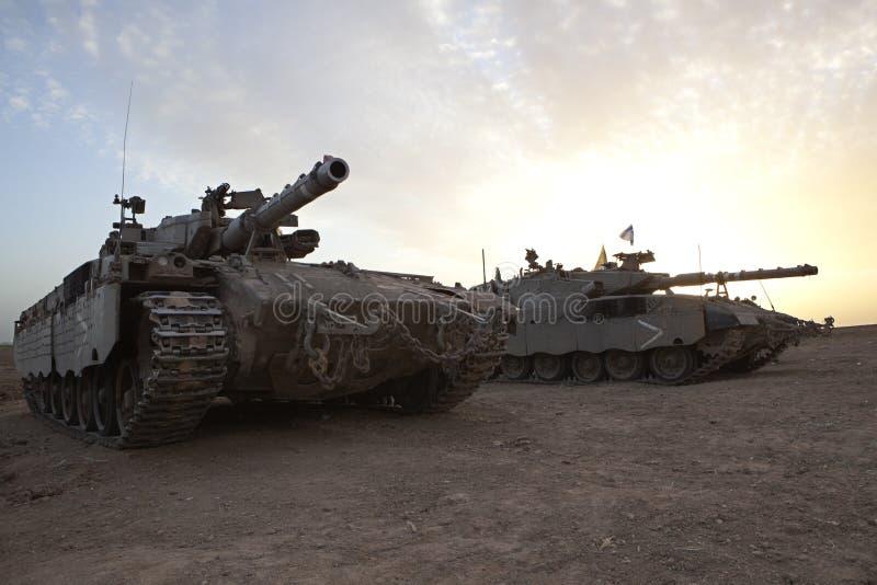Merkava Mk 4 Baz Main Battle Tank. Israeli - Palestinian conflict. Israeli military operation Cast Lead. Israeli tank Merkava ( Mercava) Mk 4 on border with Gaza royalty free stock photos