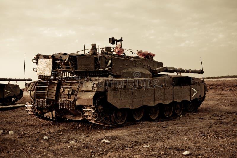 Merkava Mk 4 Baz Main Battle Tank. Israeli Palestinian conflict. Israeli military operation Cast Lead. Israeli tank Merkava ( Mercava) Mk 4 on border with Gaza stock photo
