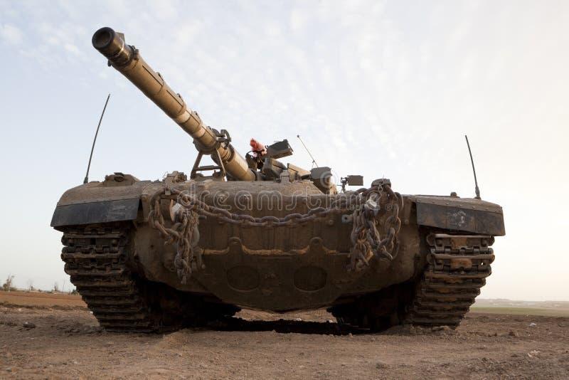 Merkava Mk 4 Baz Main Battle Tank. Israeli Palestinian conflict. Israeli military operation Cast Lead. Israeli tank Merkava ( Mercava) Mk 4 on border with Gaza stock image