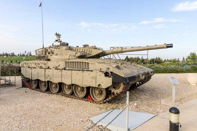Merkava Mk 1 Panzer befindet sich auf der Gedächtnisstätte in der Nähe des Museums des gepanzerten Korps in Latrun, Israel stockfotos