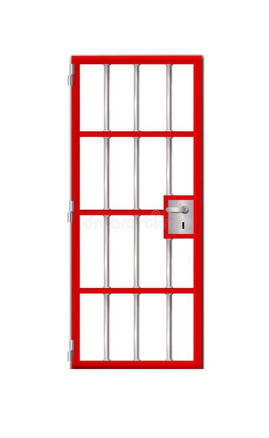 Merkbaar beter gedetailleerde rode deurgevangenis In gevangenis achter de tralies voor om het even welke achtergrond Voorraadvect stock illustratie
