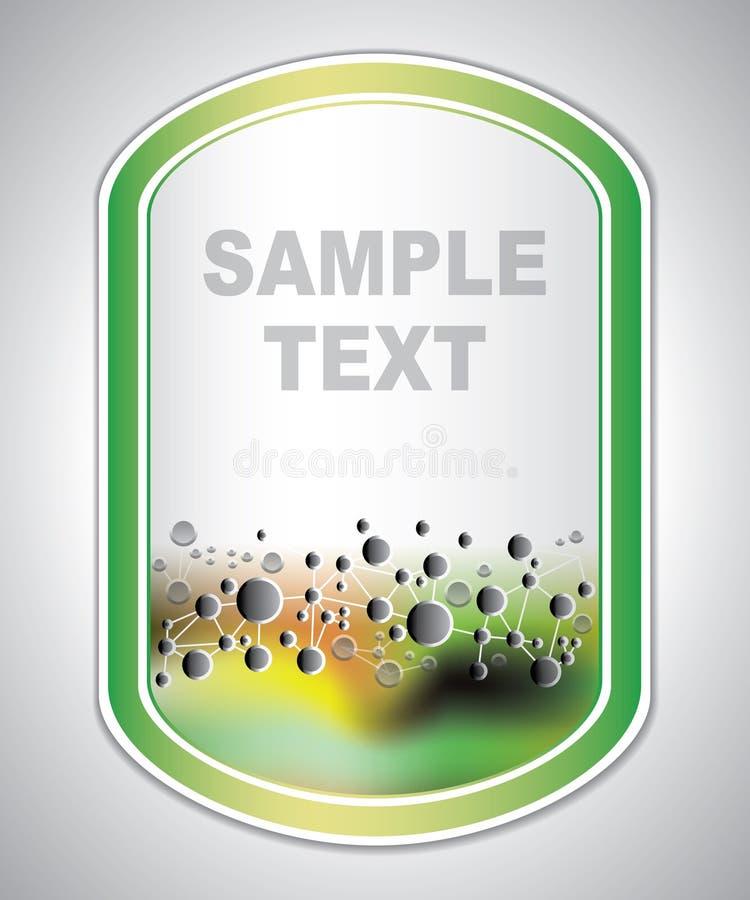 Merkend etiket - moleculaire structuur - abstracte achtergrond stock illustratie