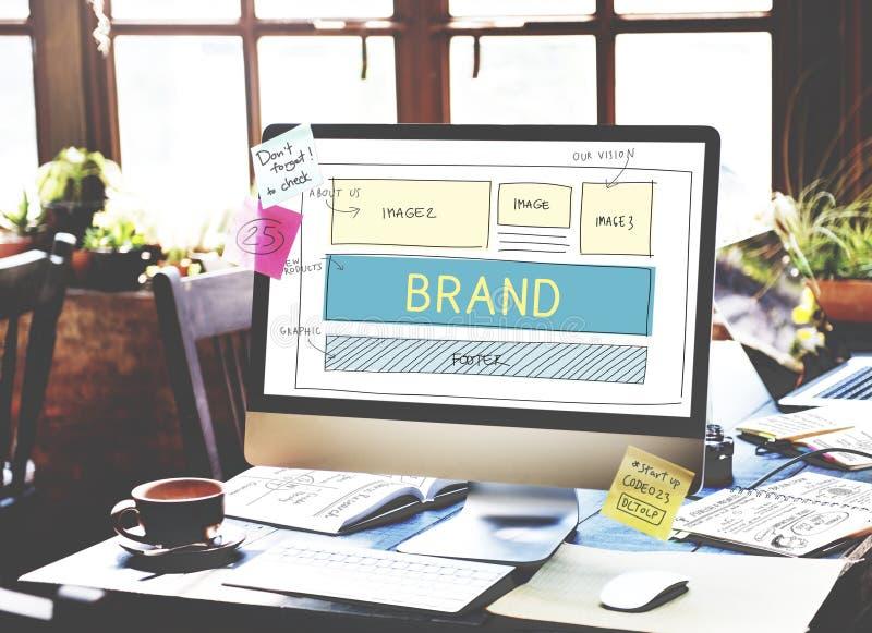 Merkhandelsmerk Marketing het Concept van het Websiteplan UI stock fotografie