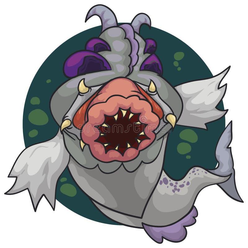 Merkwürdige Mutant-Fische mit schrecklichem Kopf und furchtsamem gezahntem Mund, Vektor-Illustration lizenzfreie abbildung