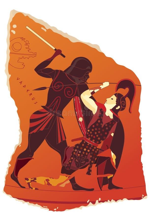 Merkwürdige Töpferarbeit von altem Griechenland stockbild