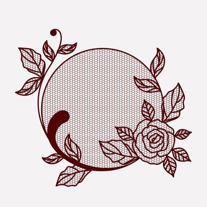 Merletti con il fiore rosa nella forma circolare sulla siluetta monocromatica royalty illustrazione gratis