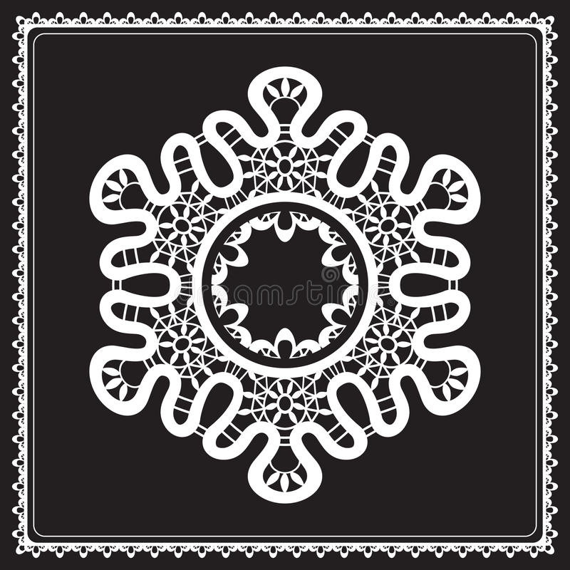 Merletto bianco sul nero illustrazione vettoriale