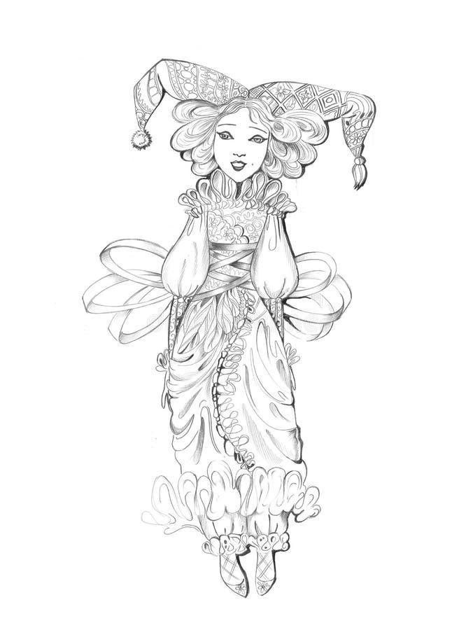 Merletto del whith della bambola illustrazione vettoriale