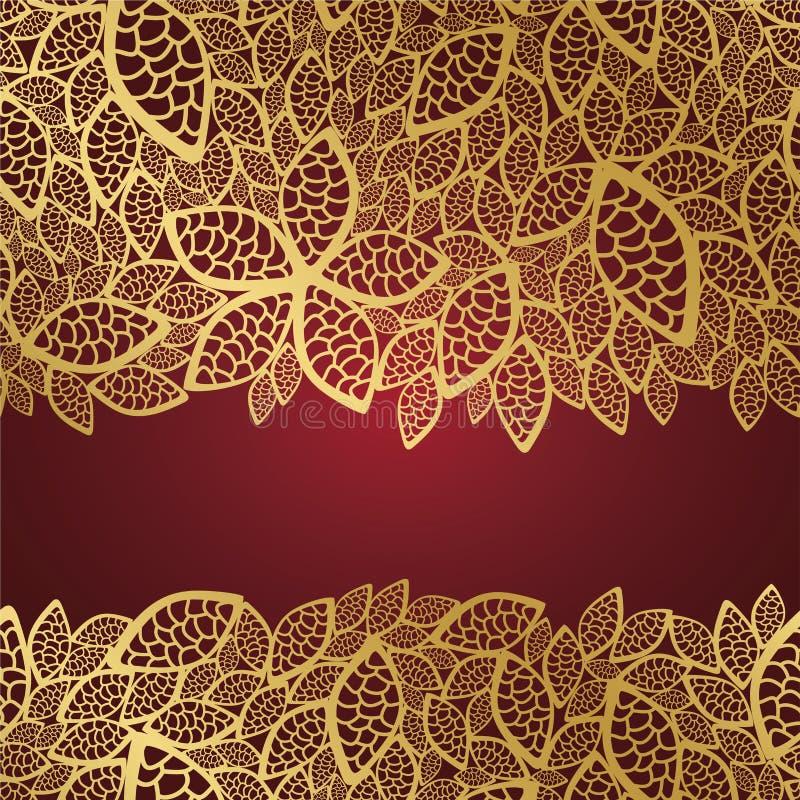 Merletto dorato del foglio su priorità bassa rossa illustrazione di stock