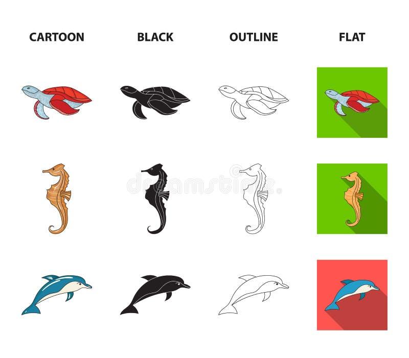 Merlin, schildpad en andere species De overzeese dieren plaatsen inzamelingspictogrammen in beeldverhaal, zwarte, overzicht, vlak vector illustratie