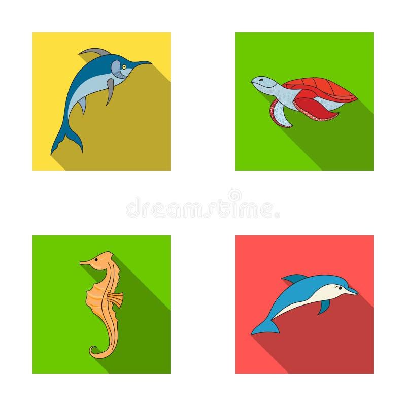 Merlin, sköldpadda och annan art Symboler för samling för havsdjur lagerför fastställda i plant stilvektorsymbol illustrationreng vektor illustrationer