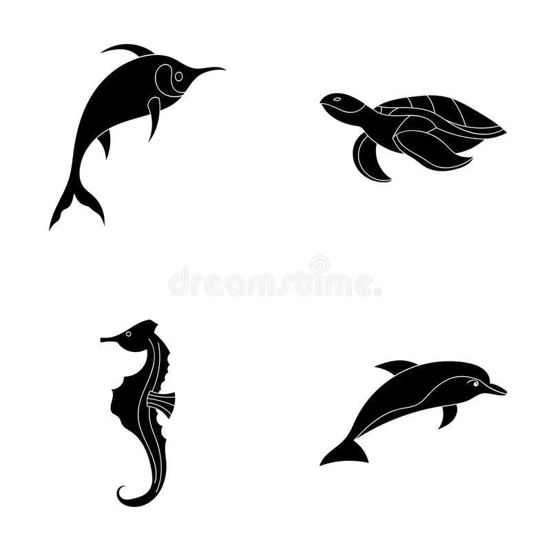 Merlin, sköldpadda och annan art Symboler för samling för havsdjur lagerför fastställda i svart stilvektorsymbol illustrationreng vektor illustrationer