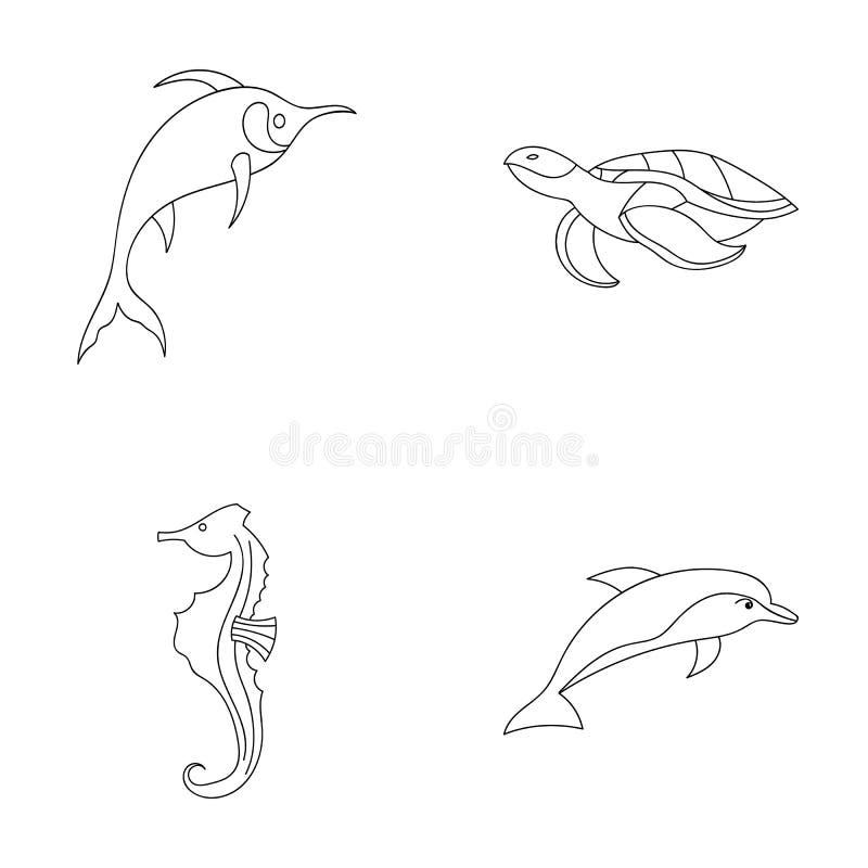Merlin, sköldpadda och annan art Symboler för samling för havsdjur lagerför fastställda i symbol för översiktsstilvektor illustra vektor illustrationer