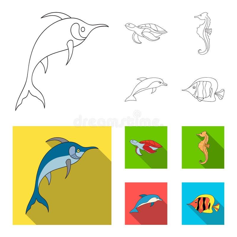Merlin, sköldpadda och annan art Symboler för samling för havsdjur fastställda i översikten, illustration för materiel för symbol stock illustrationer